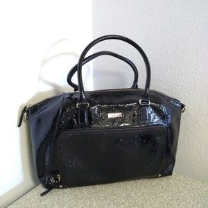 Kate Spade NY Black Patent Ostrich Leather Bag